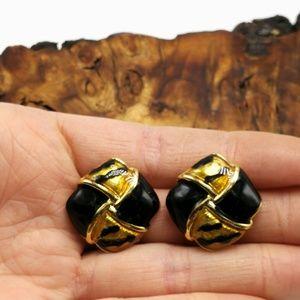 Vintage Africa black enamel tiger Gold weave daint
